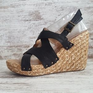 ⚁Kenneth Cole Leather & Braided Wedge